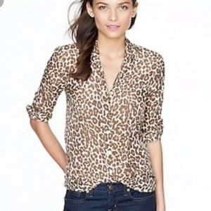 J. Crew leopard Print silk button up blouse
